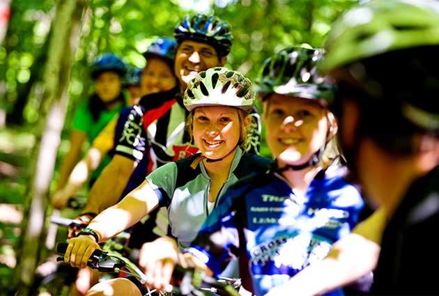 bikers enjoying forest